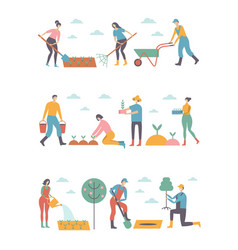 People working in garden design elements and icons vector