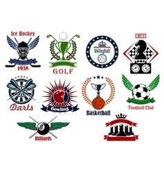 Spors games icons emblems and tournament badges vector image