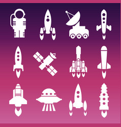 white shuttle rockets and space vector image
