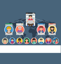 banner - concept of social network vector image