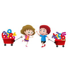 Boy and girl pulling wagon of numbers vector