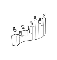 Business graph icon outline style vector image