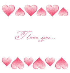 Hand drawn colorful Valentine hearts border vector image