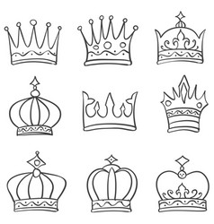 set crown various doodle style vector image vector image