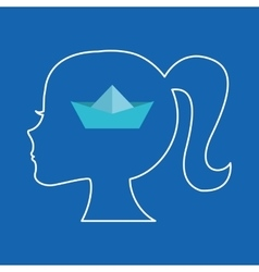 Silhouette head girl student idea vector