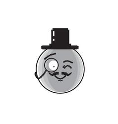 smiling cartoon face wear aristocrat hat positive vector image