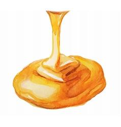 Watercolor honey drip vector
