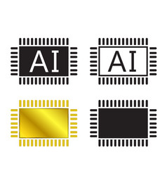 Ai system icon and cpu symbo vector