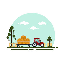 flat red tractor with a cart hay the agricultural vector image