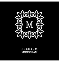 Monogram made of wide white stripes emblem vector image