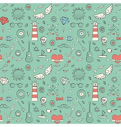 Seamless Pattern with Hand Drawn Vintage Sea vector image vector image