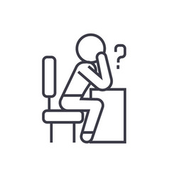 thinking person with question linear icon sign vector image