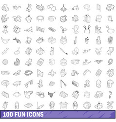 100 fun icons set outline style vector image vector image
