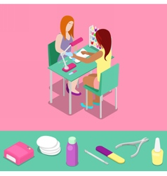 Beauty Salon Master Makes Girl Manicure Isometric vector image vector image