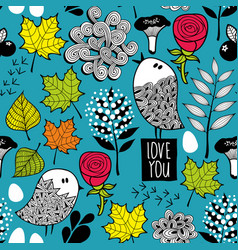 endless background with doodle birds and nature vector image vector image