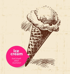 Vintage sweet ice cream background vector image