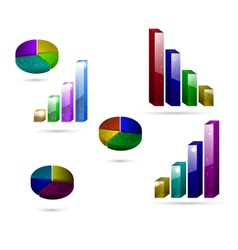 3d graph icons vector image