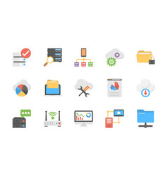 a pack of database and storage flat icons vector image