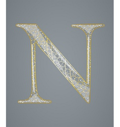 Abstract golden letter N vector image
