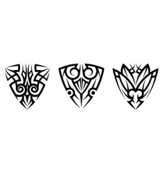 abstract tribal art tattoo set vector image