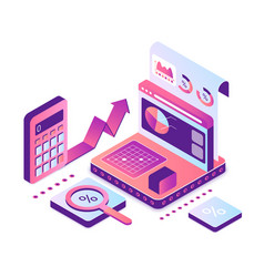 Accounting and audit isometric vector