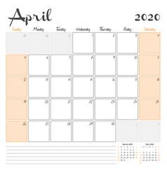 April 2020 monthly calendar planner printable vector