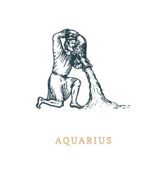 aquarius zodiac symbolhand drawn in engraving vector image
