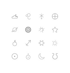 Astrology simple linear icons set outlined icons vector