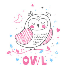 baby print pink cute hand drawn owl vector image