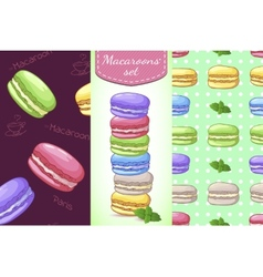 Beautiful set with French dessert macaroons Two vector
