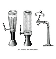 beer tower and beer dispenser vintage hand draw vector image