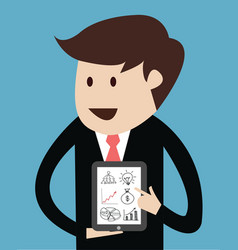 business man with tablet concept of presentation vector image
