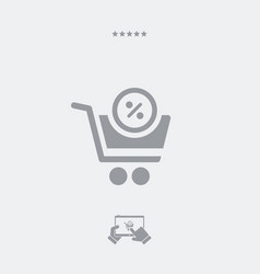 cart with discount offer vector image
