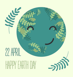 cartoon earth planet smileearth day vector image