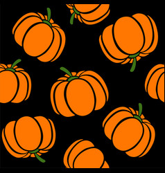 cartoon pumpkins on a black background simple vector image