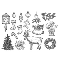 Christmas New Year ornaments sketch vector