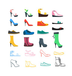 color woman shoes set vector image