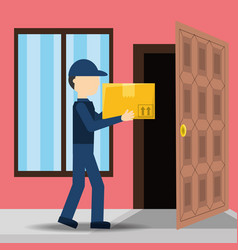 courier delivery with box package service vector image