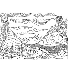creative coloring page fantasy with a mountain vector image