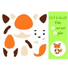 cut and glue paper little fox kids crafts vector image