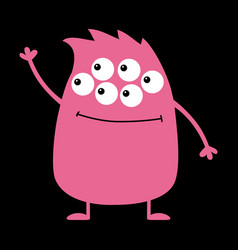 cute pink monster icon happy halloween cartoon vector image