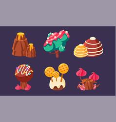 Cute sweet candy trees mountain mushrooms set vector