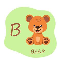 Cute teddy bear and alphabet capital letter b vector