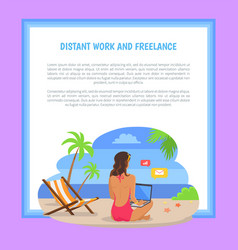 Distant work and freelance poster freelancer woman vector