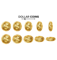 dollar 3d gold coins set realistic vector image