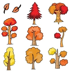 Doodle of tree different cartoon vector