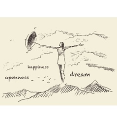 Drawn openness happiness concept sketch vector image