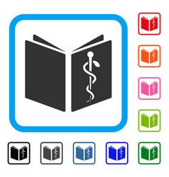 Drug handbook framed icon vector