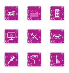 Edifice icons set grunge style vector