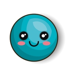 emoticon happy blue round isolated graphic vector image